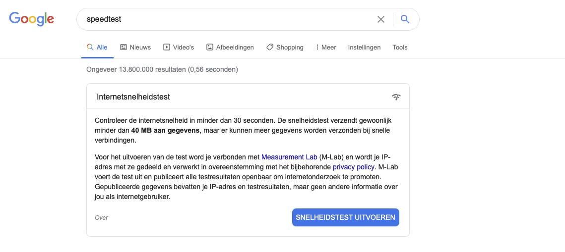 Beschrijving van hoe je Google speedtest bereikt