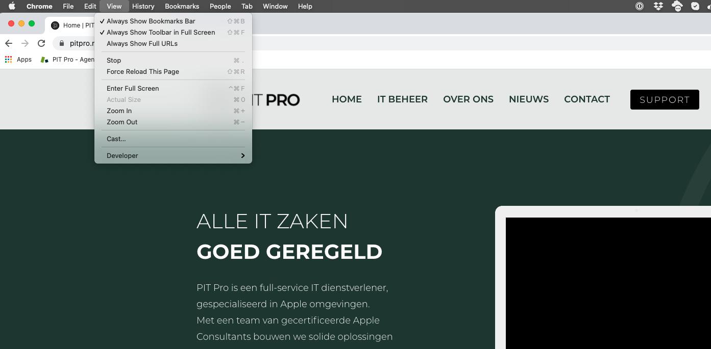 Sneltoetsen zichtbaar via het menu in Chrome en Safari