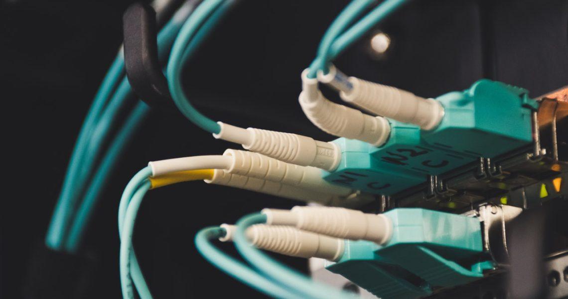 Meerdere datakabels die in een switch zitten bij een gastnetwerk