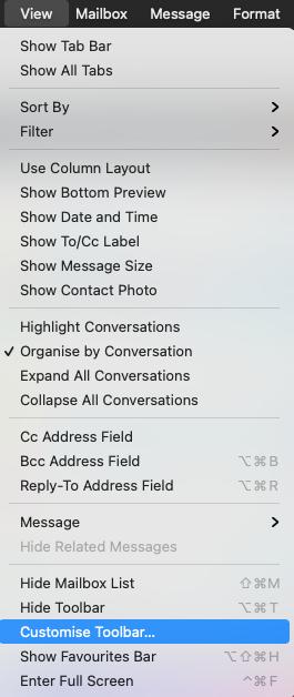 Hoe customize je je toolbar in Apple mail